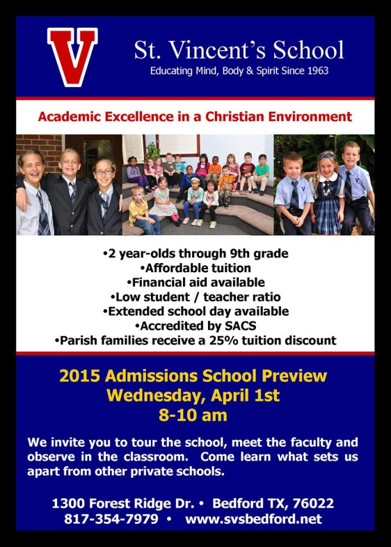 St. Vincent's School Open House on Wednesday, April 1