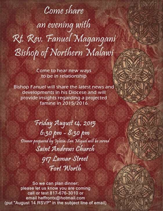 Dinner with Bishop Magangani, Aug.  14 at St. Andrew's, Fort Worth