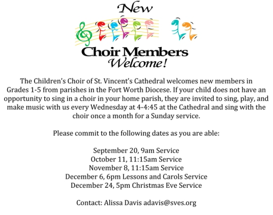 All children in grades 1 - 5 are invited to join the St. Vincent's children's choir