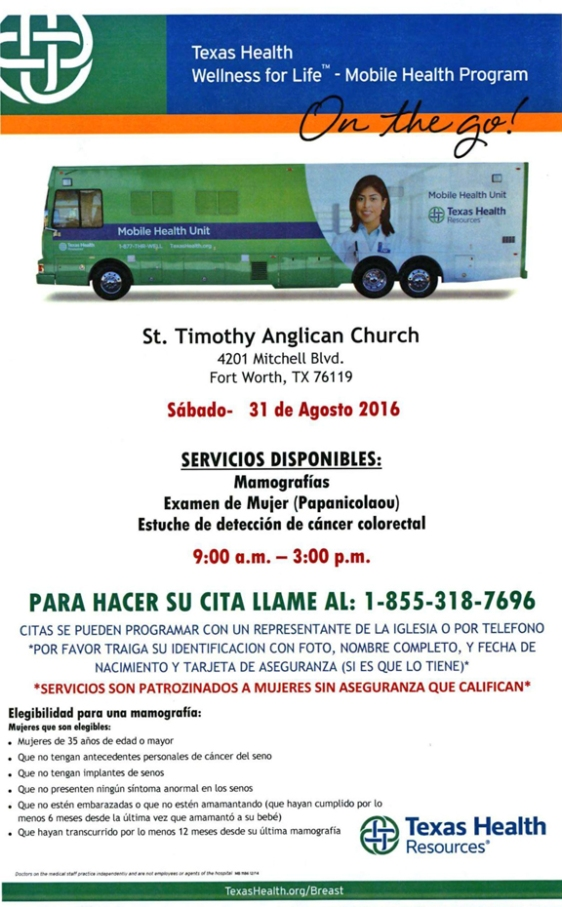 Texas Health screenings in mobile unit; call for appointment