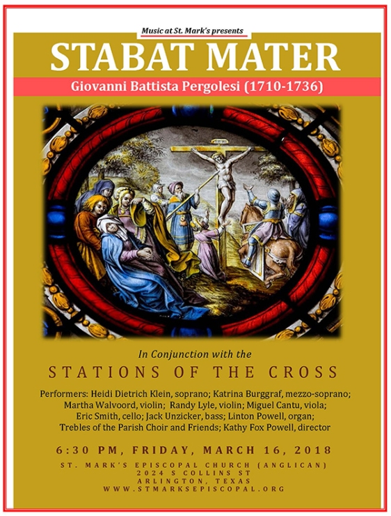Pergolesi's Stabat Mater performed by the parish choir during Friday Stations of the Cross. Begins at 6:30 p.m. on Friday, March 16.