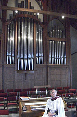 Dr. Powell at the organ